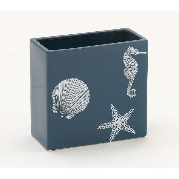 Blue Ceramic Nautical-Themed Square Vase