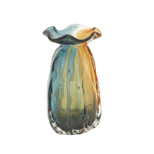 Alluring Amber/Blue Glass Vase