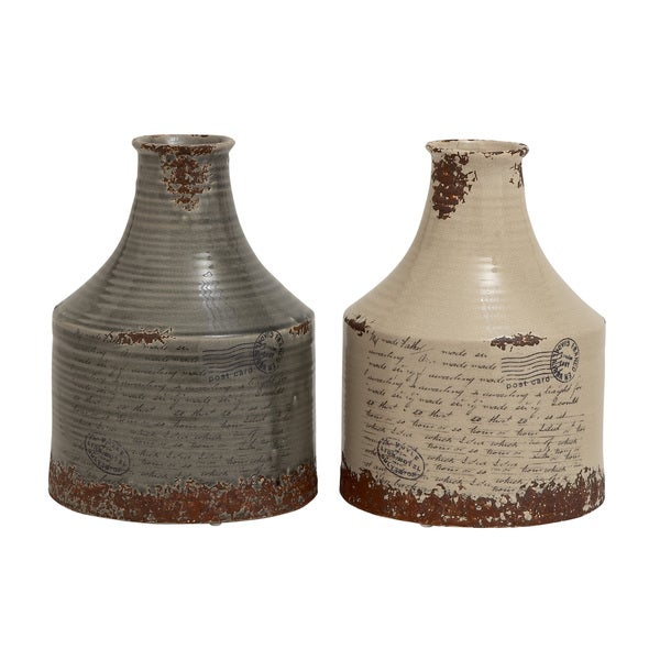 Grey and Off-white Ceramic Set of 2 Table Vases