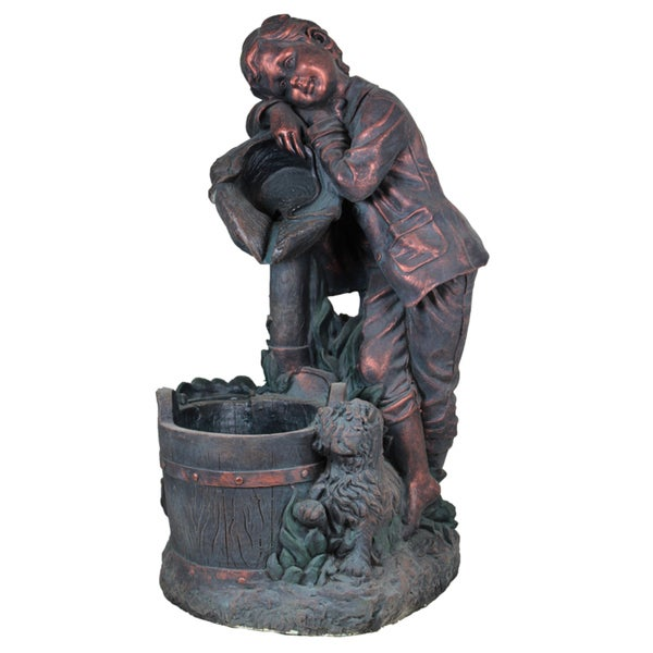 LED Light Copper Boy Fountain