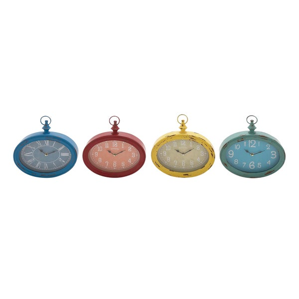 4 Assorted Oval Metal Wall Clocks