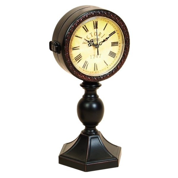 Victoria Station Vintage-style Brown Metal Clock