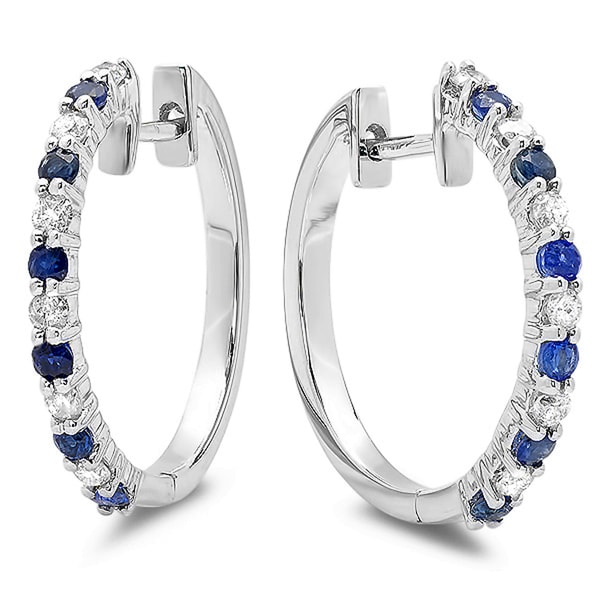 Elora 14k White Gold 5/8ct TGW Round Blue Sapphire and White Diamond Hoop Earrings (H-I, I1-I2)