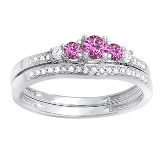 14k White Gold 1/2ct TGW Round Pink Sapphire and Diamond 5-stone Bridal Engagement Ring Set (H-I, I1-I2)