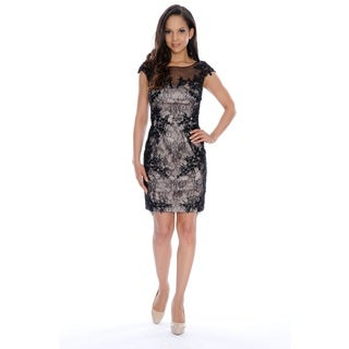 One by Eight Black Polyester Floral Lace Cocktail Dress with Illusion Neckline