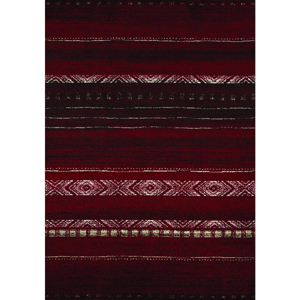 Confort Red/ Brown/ White Sweater Rug (5'3 x 7'7)