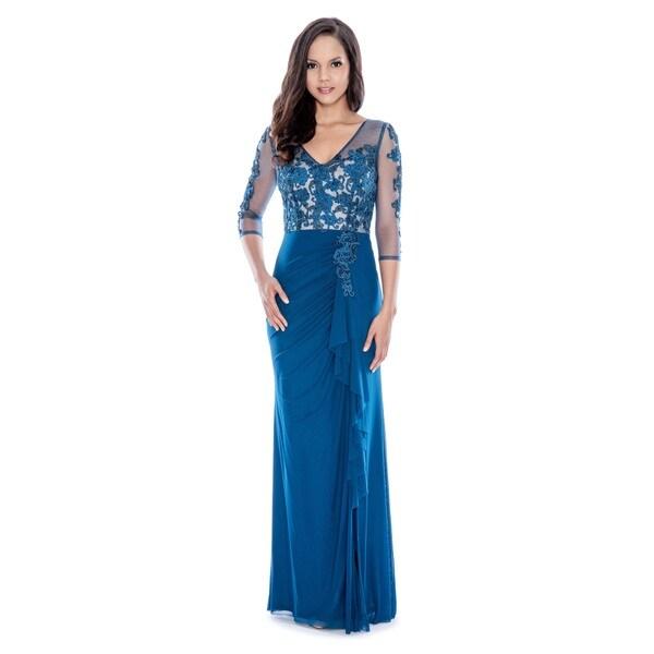 Decode 1.8 Women's Teal Long-sleeve Evening Dress