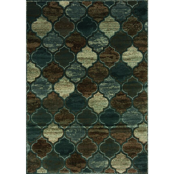Contempo Blue/ Brown Morrocan Rug (5'3 x 7'7)