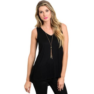 Shop the Trends Women's Rayon/Spandex V-neckline Exposed-back Sleeveless Top