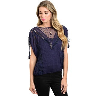 Shop the Trends Women's Navy Rayon Sleeveless Round Neck Blouse