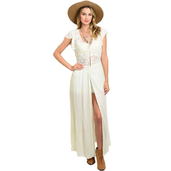Shop the Trends Women's Ivory Rayon Lace Bodice with Front Button Closure Sleeveless Duster