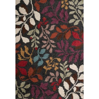 Christopher Knight Home Rose Lana Black Floral Frieze Rug (5' x 8')