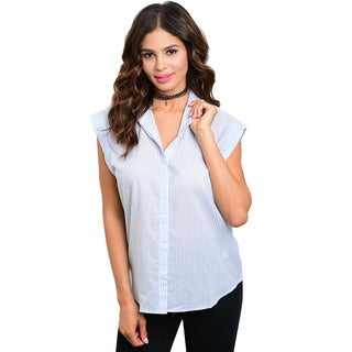 Shop the Trends Women's Sleeveless Button Down Blouse