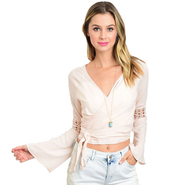 Shop the Trends Women's Solid-colored Rayon V-neck Bell-sleeve Top