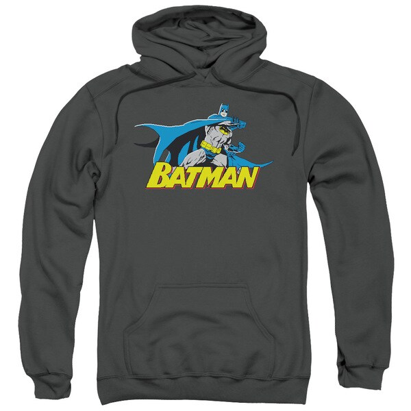 Batman/8 Bit Cape Adult Pull-Over Hoodie in Charcoal