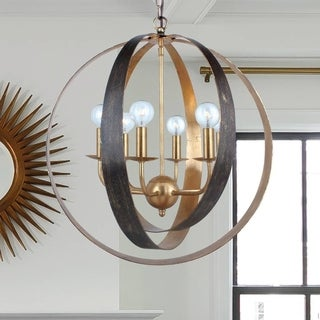 6-light English Bronze/ Antique Gold Chandelier