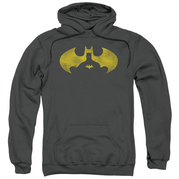 Batman/Bat Symbol Knockout Adult Pull-Over Hoodie in Charcoal