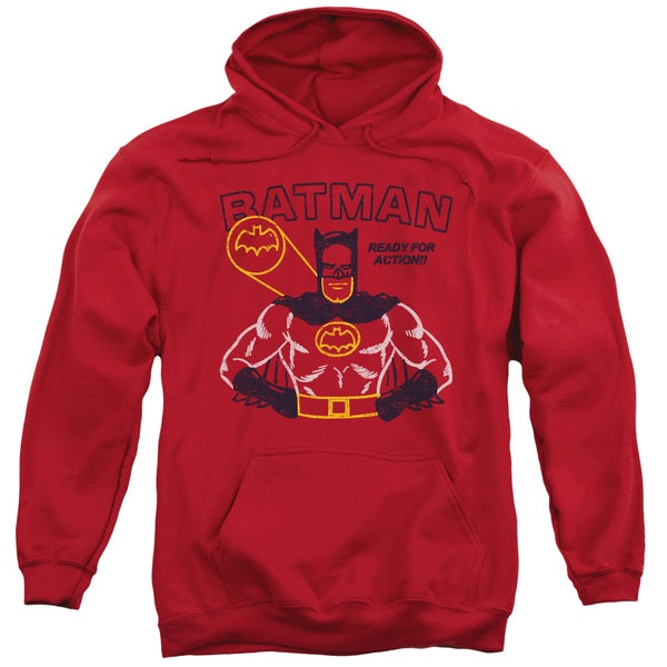 Batman/Ready For Action Adult Pull-Over Hoodie in Red