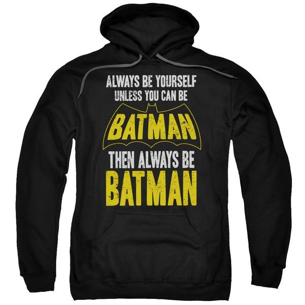Batman/Be Batman Adult Pull-Over Hoodie in Black