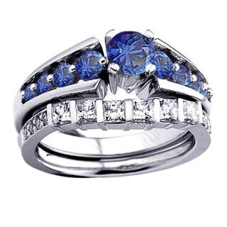 14k White Gold 1 3/4ct TDW Princess and Round Diamond and Blue Sapphire Bridal Set (H-I, I1-I2)
