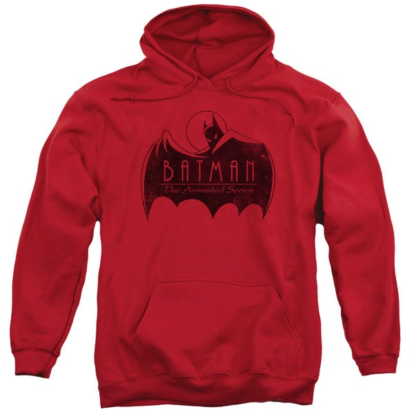 Batman The Animated Series/One Color Logo Adult Pull-Over Hoodie in Red