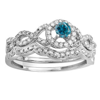 14k White Gold 5/8ct TDW Round Blue and White Diamond Halo Bridal Ring Set (H-I, I1-I2)