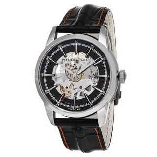 Hamilton Men's H40655731 'Timeless Class' Black Dial Black Leather Strap RailRoad Skeleton Swiss Automatic Watch