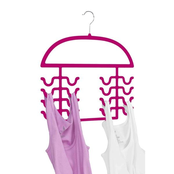 Home Basics Fuschia Plastic Set of 2 Tank Top and Bathing Suit Hanger Organizers