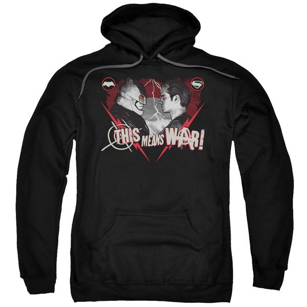 Batman V Superman/This Means War Adult Pull-Over Hoodie in Black