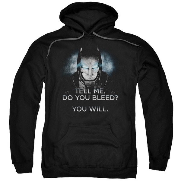 Batman V Superman/Do You Bleed Adult Pull-Over Hoodie in Black