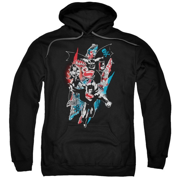 Batman V Superman/Ripped Trio 2 Adult Pull-Over Hoodie in Black
