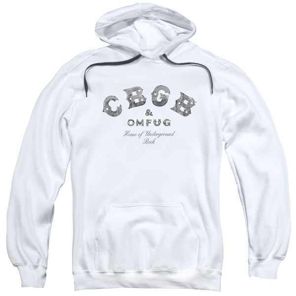 Cbgb/Club Logo Adult Pull-Over Hoodie in White