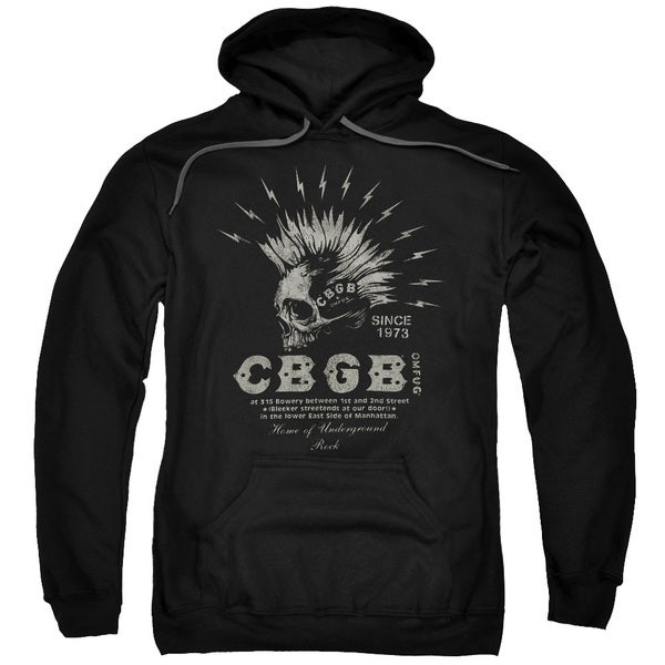 Cbgb/Electric Skull Adult Pull-Over Hoodie in Black