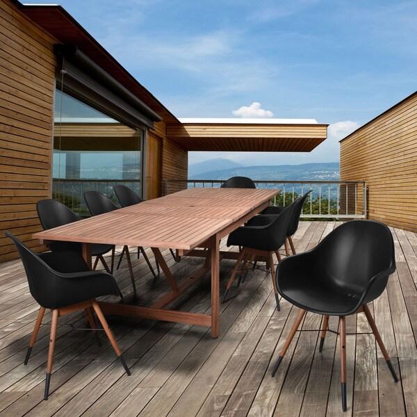 Amazonia Bonita 9-piece Black Extendable Rectangular Patio Dining Set