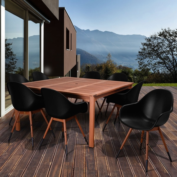 Amazonia Anastasia 9-piece Black Square Patio Dining Set
