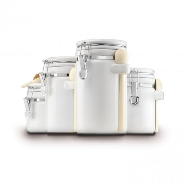 White Ceramic 4-piece Clamp-top Canister Set With Wooden Spoons 18675668