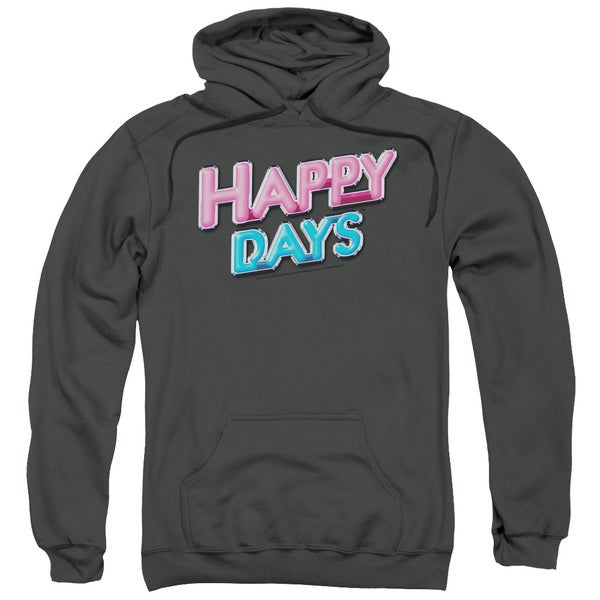 Happy Days/Happy Days Logo Adult Pull-Over Hoodie in Charcoal