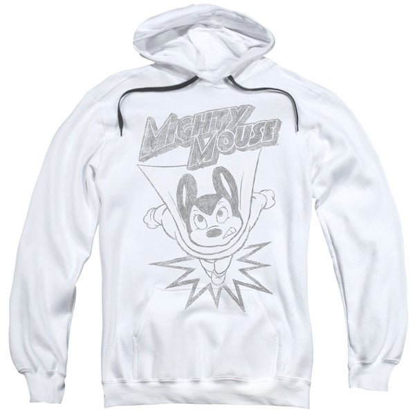 Mighty Mouse/Bursting Out Adult Pull-Over Hoodie in White