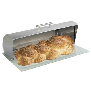 Silver Stainless Steel Breadbox With Glass Base and Cutting Board