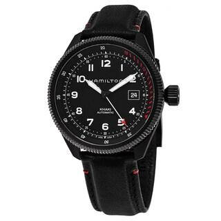Hamilton Men's H76695733 'Khaki Field' Black Dial Black Leather Strap Takeoff Air Zermatt Swiss Automatic Watch