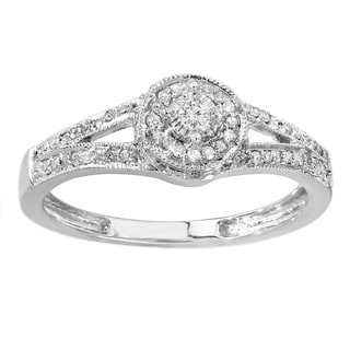 Sterling Silver 1/4ct TDW Round Diamond Split Shank Halo Engagement Ring (I-J and I2-I3)