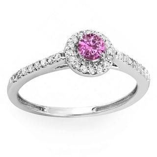14k White Gold 1/2ct TDW Round-cut Pink Sapphire and Diamond Engagement Bridal Halo Ring (I-J, I1-I2)