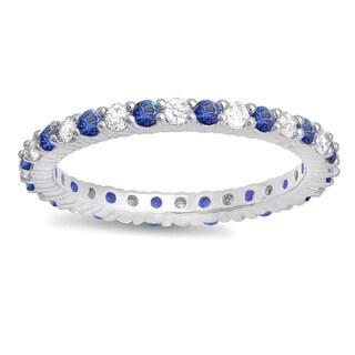 14k White Gold 1ct TGW Blue Sapphire and White Diamond Eternity Stackable Band (H-I, I1-I2)