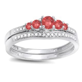 14k White Gold 1/2ct TGW Round Ruby and White Diamond 5-stone Bridal Engagement Ring (H-I, I1-I2)