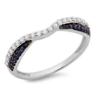 14k Gold 1/3ct TGW Blue Sapphire and White Diamond Anniversary Wedding Ring (H-I, I1-I2)