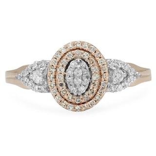 10k Two-tone Gold 2/5ct TDW Round Diamond Split Shank Bridal Cluster Engagement Ring (I-J, I1-I2)