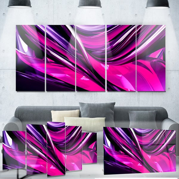 Designart 'Pink & Purple Ribbons' Metal Wall Art