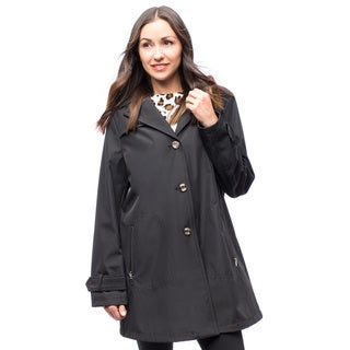 Larry Levine Spring Raincoat with Detachable Hood