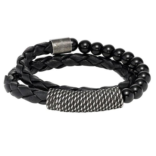 Cambridge Black Leather Double-wrap Beaded Bracelet