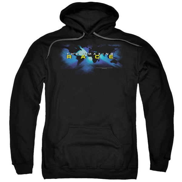 Amazing Race/Faded Globe Adult Pull-Over Hoodie in Black